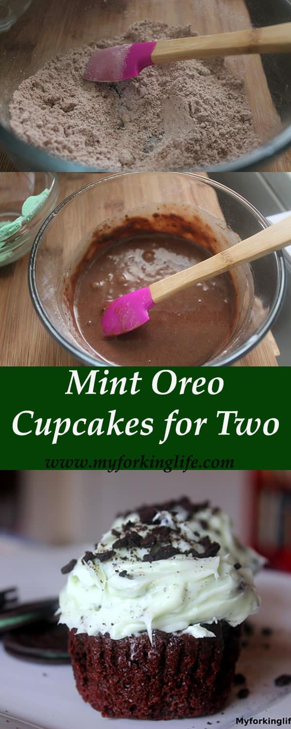 Delicious Mint Oreo Cupcakes for two from www.myforkinglife.com