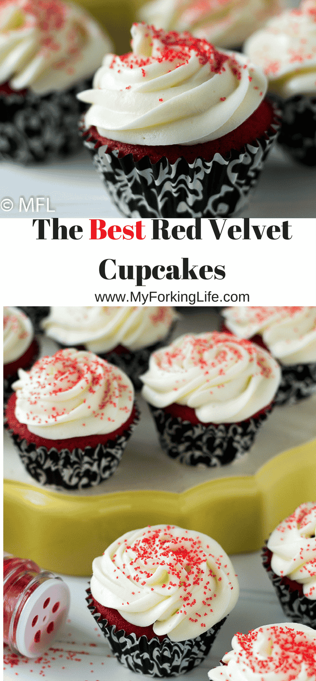 The Best Red Velvet Cupcakes! Perfect moist and very red cupcakes. Perfect dessert for Valentine's Day.