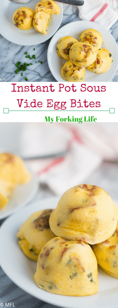 Sous Vide Egg Bites Recipe in the Instant Pot. Creamy and velvety eggs steamed to perfection in the Instant Pot. Perfect make ahead breakfast.